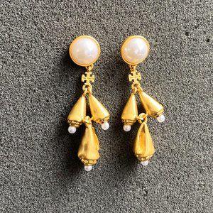 Tory Burch Golden Conch Pendant Earrings
